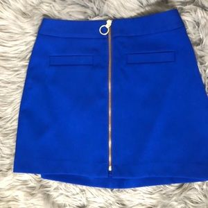 Royal Blue Mini Skirt with Gold Front Zipper